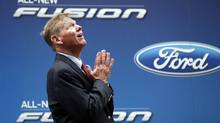 Alan Mulally, President and CEO of Ford Motor Company attends a launch event for the New 2013 Ford Fusion Hybrid car in New York's Times Square, September 18, 2012. (MIKE SEGAR/REUTERS)