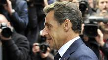 French President Nicolas Sarkozy arrives for a European Union summit on Oct. 28, 2010 at the European Council headquarters in Brussels. (Georges Gobet/AFP/Getty Images/Georges Gobet/AFP/Getty Images)