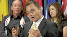 Assembly of First Nations National Chief Shawn A-in-chut Atleo speaks with media as Kitigan Zibi Anishinabeg First Nation Chief Gilbert Whiteduck (left) and nation AFN youth representative Kluane Adamek look on during a news conference in Ottawa, Tuesday September 21, 2010. (Adrian Wyld/The Canadian Press/Adrian Wyld/The Canadian Press)