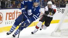 Toronto Maple Leafs captain Dion Phaneuf is a big part of what's going right for the Toronto Maple Leafs this season writes Eric Duhatschek. (Peter Power/The Globe and Mail)
