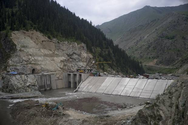 The Kishenganga dam in the Gurez Valley near the border Indian border with Pakistan. The hydroelectric projet will generate 330 mw of power.