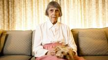 Joan (Langdon) McLagan, 89, is photographed with her dog, Twinkie, at her home in Vancouver, British Columbia, Tuesday, July 17, 2012. At age 13, she was the youngest member of Canada's Olympic team sent to the 1936 Berlin Olympics. (Rafal Gerszak for The Globe and Mail)
