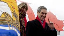 Liberal Leader Michael Ignatieff and his wife Zsuzsanna Zsohar arrive in Saint John on April 20, 2011. (JONATHAN HAYWARD/THE CANADIAN PRESS)
