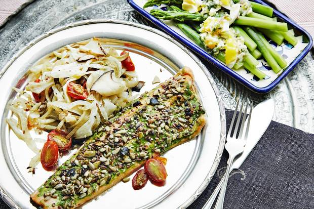 Arctic char with vegetables is a sophisticated version of the current trend toward plant-based eating.