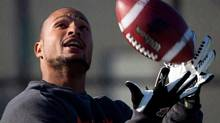 B.C. Lions' wide receiver Paris Jackson makes a reception during football practice in Surrey, B.C., on Tuesday November 15, 2011. (DARRYL DYCK/THE CANADIAN PRESS)