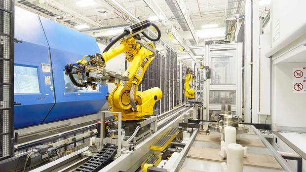 A robot used to assemble jet engine components at Pratt & Whitney.