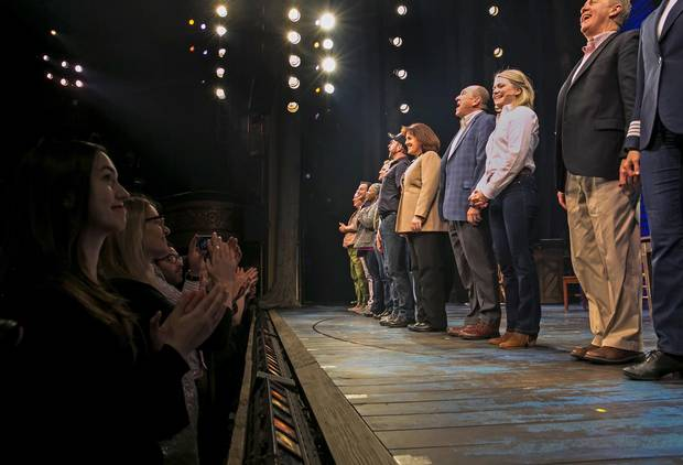 The cast of Come From Away takes a bow onstage at the Broadway opening night at the Gerald Schoenfeld Theatre in New York on Sunday.