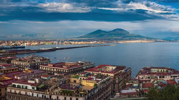 Panorama of Naples, with a view of the port in the Gulf of Naples and Mount Vesuvius.