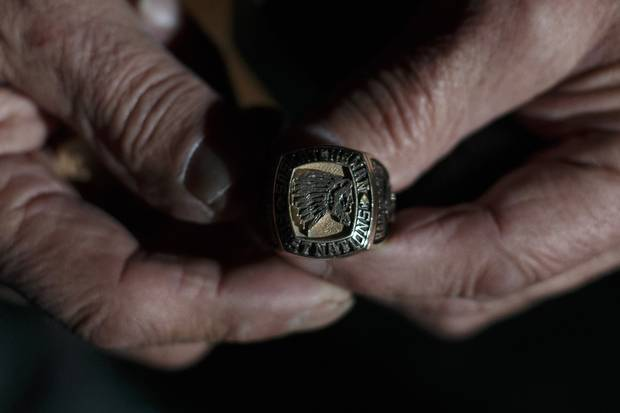 Sasakamoose holds his Saskatchewan First Nations Hall of Fame ring.