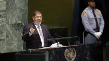 Egypt's President Mohamed Morsi addresses the 67th session of the United Nations General Assembly at U.N. headquarters. (Mary Altaffer/AP)