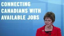 Human Resources Minister Diane Finley announces changes to Employment Insurance in Ottawa, May 24, 2012. (Adrian Wyld/THE CANADIAN PRESS)
