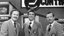This CBC photo of Hockey Night in Canada broadcasters Brian McFarlane, left, Dave Hodge, centre and Bill Hewitt was originally published on Dec. 13, 1980. (CBC)