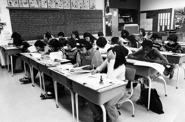 Students at their desk in 1978.