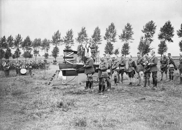 Lieutenant-General Arthur Currie at a memorial service for those killed at Hill 70.
