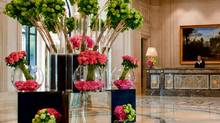A floral display by Jeff Leatham in Paris's George V Hotel bears several of his signatures, including monochromatic groupings and angled stems.