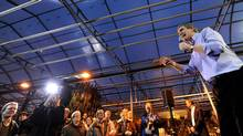 Liberal Leader Michael Ignatieff speaks at a campaign stop in Drummondville, Que. (Nathan Denette/The Canadian Press)