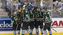Saskatoon Blades fans react as the London Knights' Tyler Ferry, left to right, Nikita Zadorov, Seth Griffith, Bo Horvat and Scott Harrington celebrate their second goal during first period Memorial Cup action in Saskatoon, Sask., on Friday, May 17, 2013. (Liam Richards/THE CANADIAN PRESS)