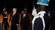 Canadian Prime Minister Stephen Harper walks the honour guard with Democratic Republic of the Congo Prime Minister Matata Ponyo Mapon upon arriving in Kinshasa, Democratic Republic of Congo, Friday, Oct. 12, 2012, to attend the Sommet de la Francophonie. (Paul Chiasson/THE CANADIAN PRESS)