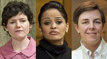 A combination photograph of New Democrat Megan Leslie, Liberal Ruby Dhalla and Conservative Kellie Leitch. (The Canadian Press)