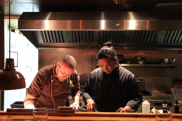 Harvest Eatery's Owner and Chef Rusty Thienes preps alongside Chef de Cuisine Chriel Pangilinan (Shaunavon)