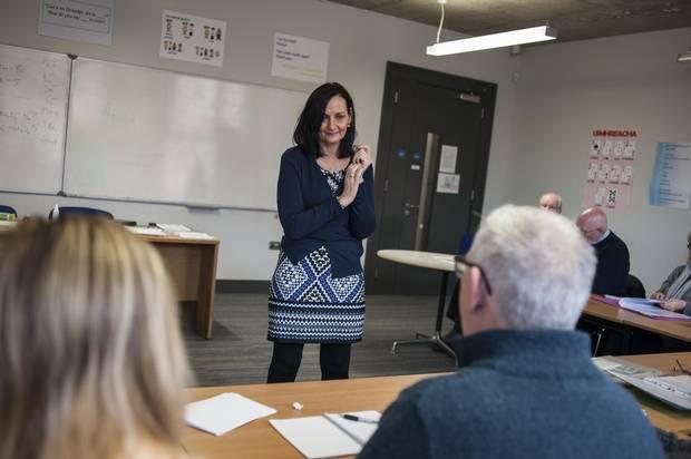 Gearóidín Monroe teaches a Turas class of Irish language for beginners.