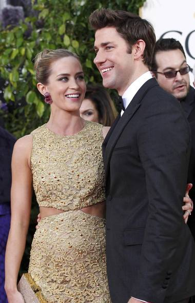 Actress Emily Blunt and her husband John Krasinski were one of the many couples who walked the Golden Globes red carpet together on Sunday. They've been married since 2010. (Reuters)