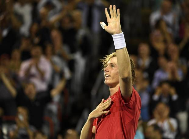 Denis Shapovalov of Canada reacts after defeating Rafael Nadal of Spain (not pictured) during the Rogers Cup tennis tournament at Uniprix Stadium.