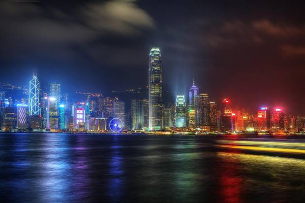 Hong Kong's skyline is seen from Kowloon.