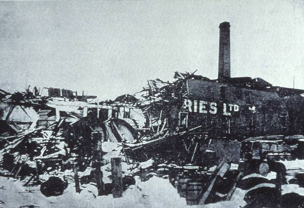 The brewery levelled by the Halifax Explosion.