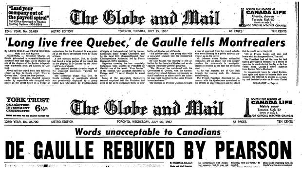 July 25 and 26: The Globe's alarmed front-page headlines in the days after Gen. De Gaulle's speech.