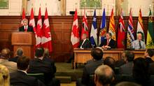 Prime Minister Stephen Harper delivers an address to his caucus May 21, 2013 on Parliament Hill in Ottawa. (Dave Chan for The Globe and Mail)