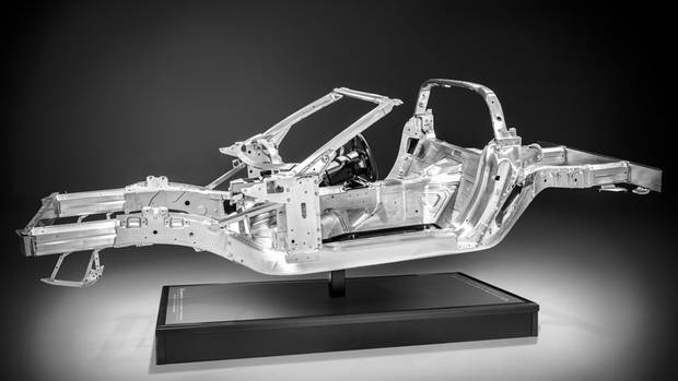The aluminum frame of the Chevrolet Corvette Stingray 57 per cent stiffer and 45 kg(99 pounds) lighter. (General Motors)