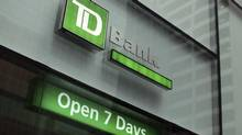 The outside of a TD Bank branch is seen in New York January 17, 2012. TD Ameritrade's quarterly earnings rose, helped by fees on deposit accounts and investment products, while revenues fell along with trading levels as investors stepped back from the choppy markets. REUTERS/Shannon Stapleton (UNITED STATES - Tags: BUSINESS) (SHANNON STAPLETON/REUTERS)