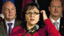 Federal Health Minister Leona Aglukkaq, fields questions after meeting with her provincial and territorial counterparts in Halifax on Nov. 25, 2011. (Andrew Vaughan/Andrew Vaughan/The Canadian Press)