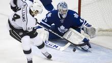Leafs Jonathan Bernier makes a late save on LA Kings Justin Williams (Peter Power/The Globe and Mail)