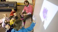 Senior kindergarten teacher Brad MacMaster is loved by children and parents alike for his unconventional and humorous approach to gender neutrality and learning in his classroom. The Newcastle Public School teacher wears pink every day to class and also uses a Smart board to foster interactive learning. (Yvonne Berg/Yvonne Berg for The Globe and Mail)