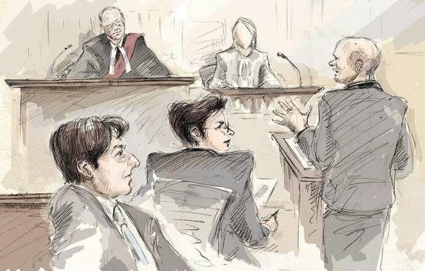 Jian Ghomeshi, Justice William Horkins, defence lawyer Marie Henein, the third complainant and Crown attorney Michael Callaghan appear at the trial in Toronto on Feb. 8.