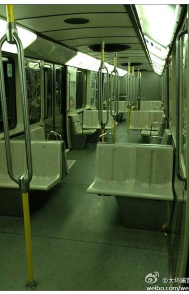 Jun Lin posted this photograph of an empty Montreal subway car on the internet with the caption 'midnight cannibalism train,' which led some Chinese Internet users to speculate that he was somehow foreshadowing his own gruesome death. (weibo.com/weibo.com)