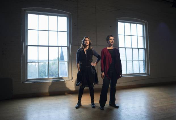 Nightwood Theatre's artistic director Kelly Thornton, left, and managing director Beth Brown stand in the Ernest Balmer Studio in Toronto's Distillery District on Oct. 30.