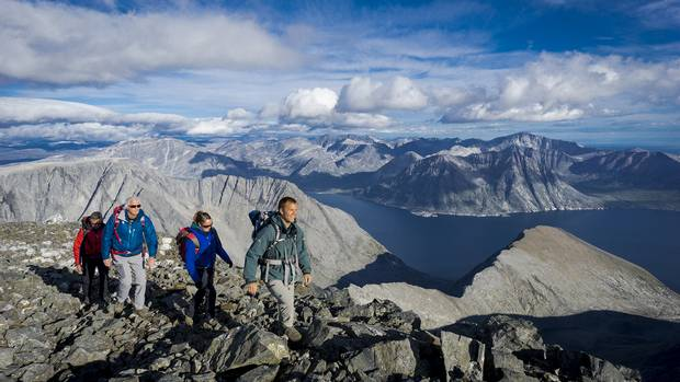 Hikers are pictured at Razorback Range in Torngat Mountains National Park.