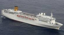 The cruise liner Costa Allegra is seen drifting in the Indian Ocean on Feb. 27, 2012, after an engine room fire. (Indian Navy/Handout/Reuters)