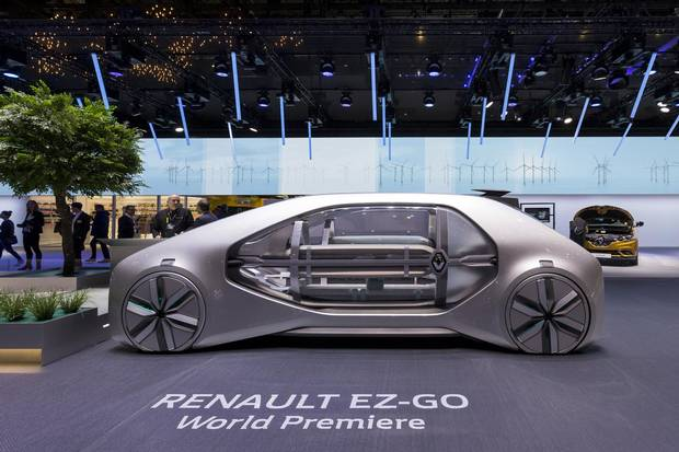 The new Renault EZ-GO Concept car presented on Wednesday, March 7, 2018.