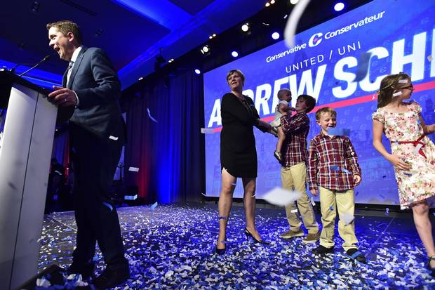 May 27, 2017: Andrew Scheer, newly elected as Conservative Leader, speaks at the party convention in front of his wife Jill; baby daughter Mary; sons Thomas, 12, and Henry,6; and daughter Grace, 10.