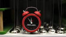 An alarm clock is displayed in a gift shop in Dublin as Ireland goes to the polls on the fiscal treaty referendum May 31, 2012. (CATHAL MCNAUGHTON/Reuters/CATHAL MCNAUGHTON/Reuters)