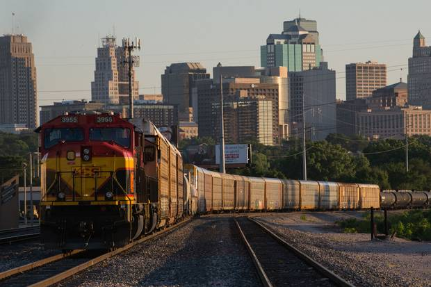 June 21, 2017: A locomotive sits in a rail yard in Kansas City, Mo., one of the cities that most starkly illustrated how the 2016 election pitted cities against their surrounding countryside. The counties including Kansas City mostly voted for Hillary Clinton in 2016, even though their respective states, Kansas and Missouri, mostly voted for Mr. Trump.
