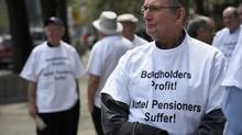 Nortel pensioners protest outside the company's bankruptcy trial this week. Bills for legal and other professionals working on the case have soared past $1-billion, while pensioners have seen their benefits slashed. (Fred Lum/The Globe and Mail)