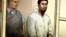 Hanad Mohamed appears at Old City Hall courthouse in Toronto where he was charged with first degree murder in the shooting death of Anthony Smith. Police say the Alberta man's former home was the scene of a bizarre incident where a man allegedly fell from a fifth-floor balcony. (Illustration by Alex Tavshunsky)