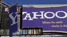 "The ""Yahoo"" sign, which overlooks the I-80 freeway from 6th St. is dismantled, Wednesday, Dec. 21, 2011 in downtown San Francisco. (Michael Macor/AP/Michael Macor/AP)"