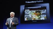 RIM Co-CEO Mike Lazaridis addresses DevCon in San Francisco on Tuesday. (BECK DIEFENBACH/REUTERS)
