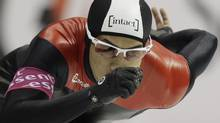 lmore Junio of Canada competes during the men's 500 meters race of the World Cup speed skating in Heerenveen, northern Netherlands, Friday Dec. 2, 2011. (AP Photo/Peter Dejong) (Peter Dejong/AP)